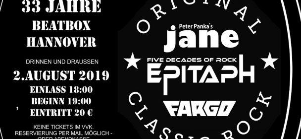 News: 33 Jahre Beatbox in Hannover – am 2.8. mit JANE, EPITAPH & FARGO live!!!